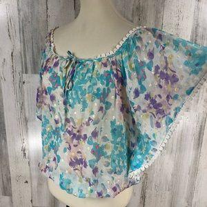 Yumi Kim Women's Watercolor Flutter Sleeve Blouse